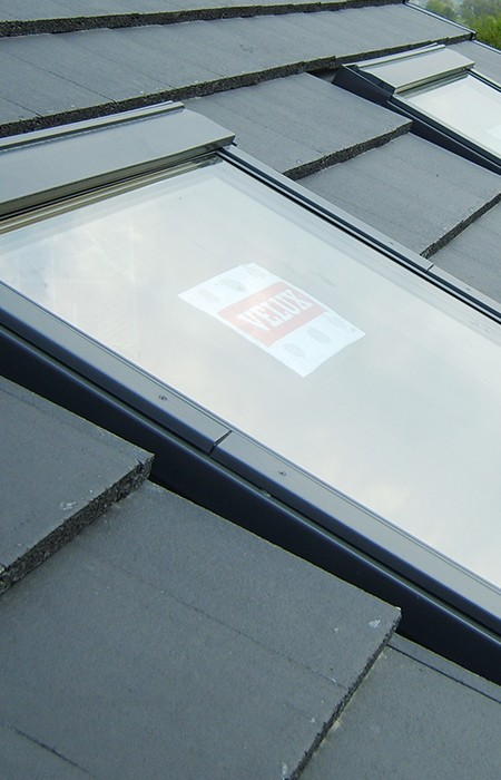 Velux window in tiled roof